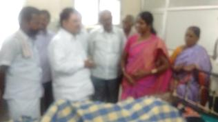 AT MADURAI GENERAL HOSPITAL ENQUIRING HEALTH CONDITIONS OF FORMER MLA A.S.PONNAMMAL