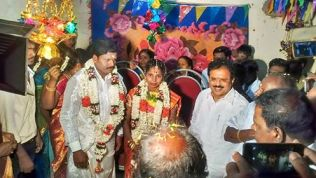 DR.E.M.S.NATCHIAPPAN BLESSING THE WEDDING COUPLES AT MR.SELVARAJ RESIDENCE, ALAVAKOTTAI VILLAGE 1