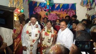 DR.E.M.S.NATCHIAPPAN BLESSING THE WEDDING COUPLES AT MR.SELVARAJ RESIDENCE, ALAVAKOTTAI VILLAGE