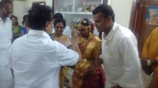 GREETING THE NEWLY MARRIED COUPLE AT KARAIKUDI