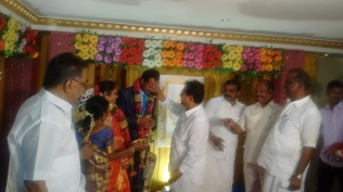 BLESSING MARRIAGE COUPLE AT MANAMADURAI